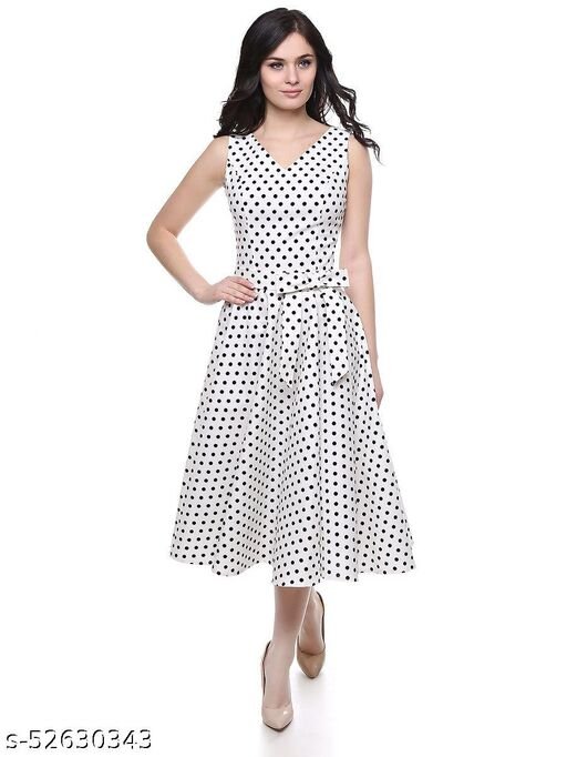 Manshav Women's Fit And Flare Fancy western Cotton Polka Dot Midi Dress