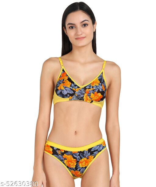 Women Cotton Bra Panty Set for Lingerie Set ( Pack of 1 ) ( Color : Yellow ) ( Pattern : Self Design )