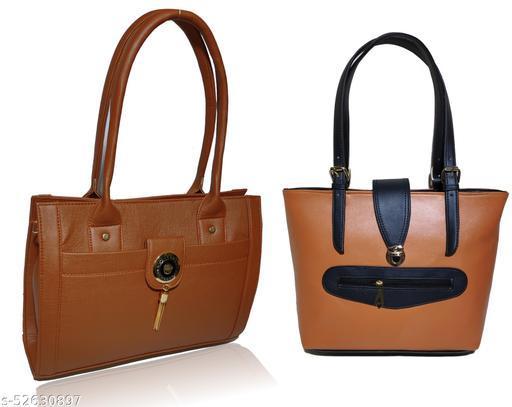AZED Women's PU Leather Handbag - Combo Pack of 2 -Tan & Tan (H003TN_H010TN)