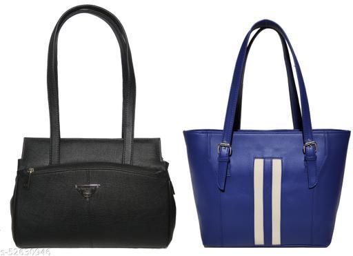 AZED Women's PU Leather Handbag - Combo Pack of 2 -Black & Blue (H001BK_H009BL)