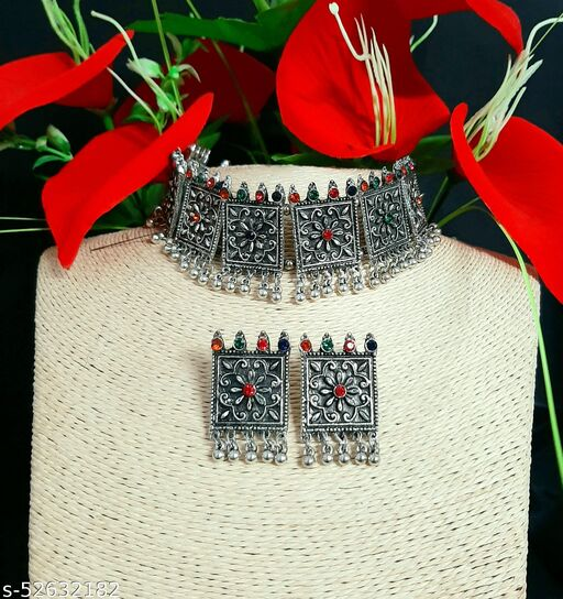 Diva Crystals Traditional Oxidized German Silver Necklace with Earrings for Women and Girls.Jewellery Set