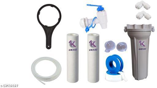 """OKTAT Prefilter Housing 1 Bowl  + 2  Spun  + 5 Mtr Pipe +1 Tefflon Tape + 1/4"""" Nosel & Spanner+ 1 TAB Tap Mount +2 Antiscalant balls Key for RO Water Purifie Solid Filter Cartridge"""