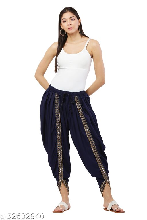 Navy Blue color Patiala with Embellished Lace