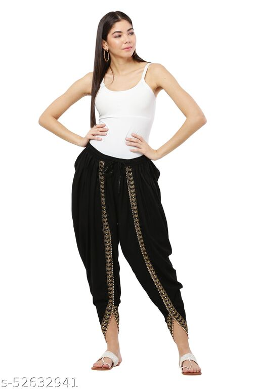 Black color Patiala with Embellished Lace
