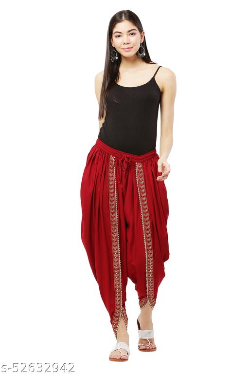 Maroon color Patiala with Embellished Lace