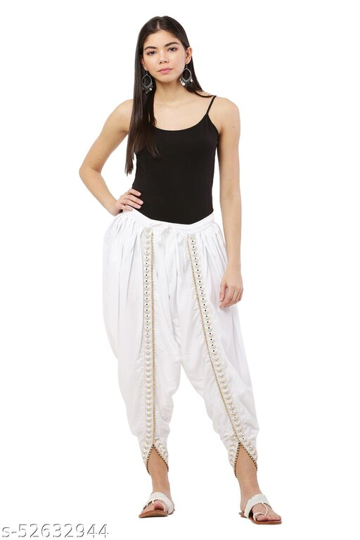White color Patiala with Embellished Lace