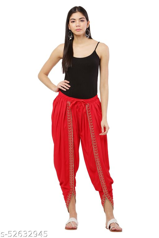 Red color Patiala with Embellished Lace