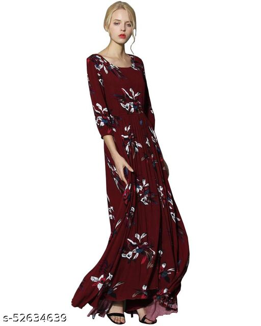 DIP Women's Fit And Flare Fancy Maxi Length Gown Dress