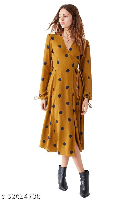 DIP Women's Fit And flare Fancy Cotton Western Polka Dot Dress
