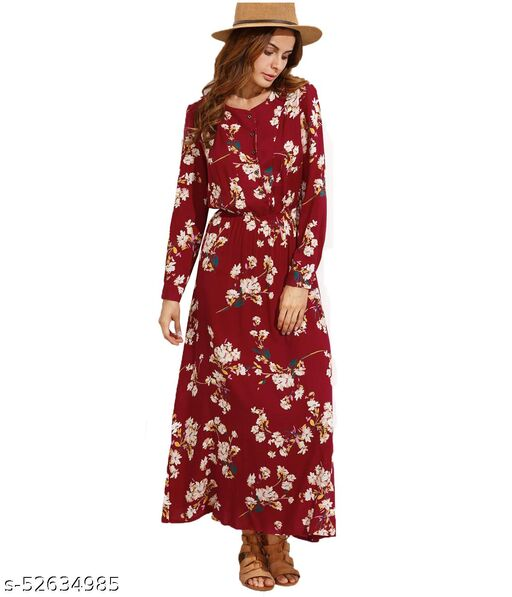 DIP Women's Fit And Flare Fancy Cotton Western Floral Maxi Length Gowns