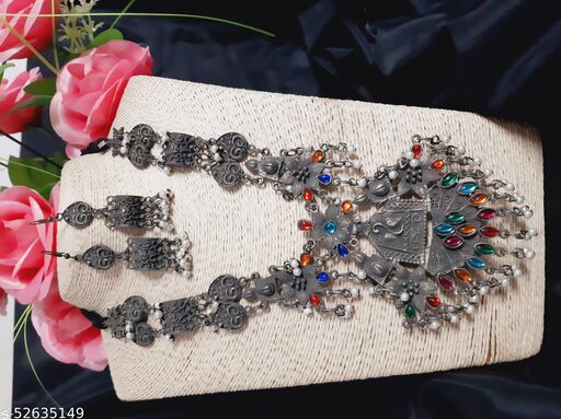 Diva Crystals Traditional Oxidized German Silver Necklace with Earrings for Women and Girls.