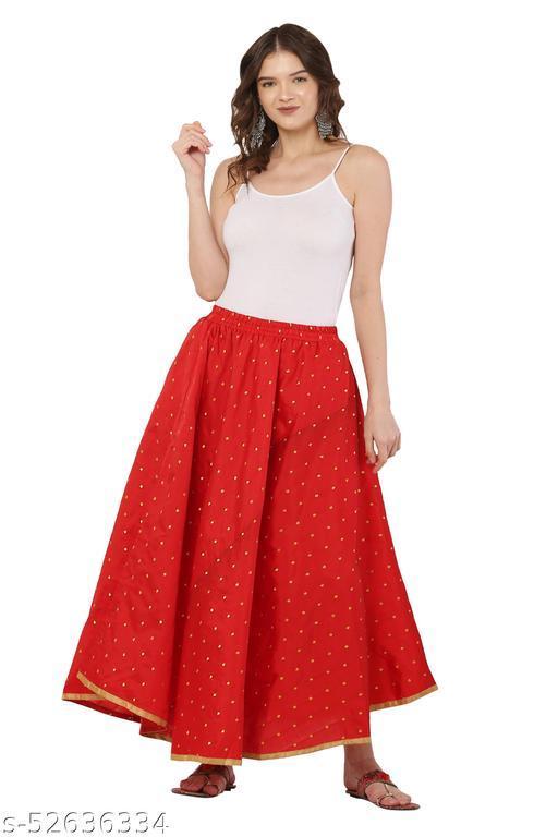 Red Color Golden Zari Work Skirt