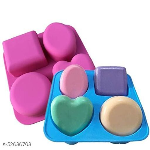 4 Cavity Silicon Soap Cake Making Mould | 4 Shapes, Circle, Square, Oval and Heart (Random Colour)