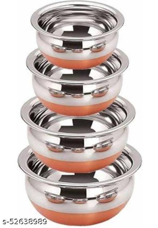 SteelTop Stainless Steel Copper 4-Piece Handi Pot Set(450ml, 700ml, 1200ml, and 1450ml)