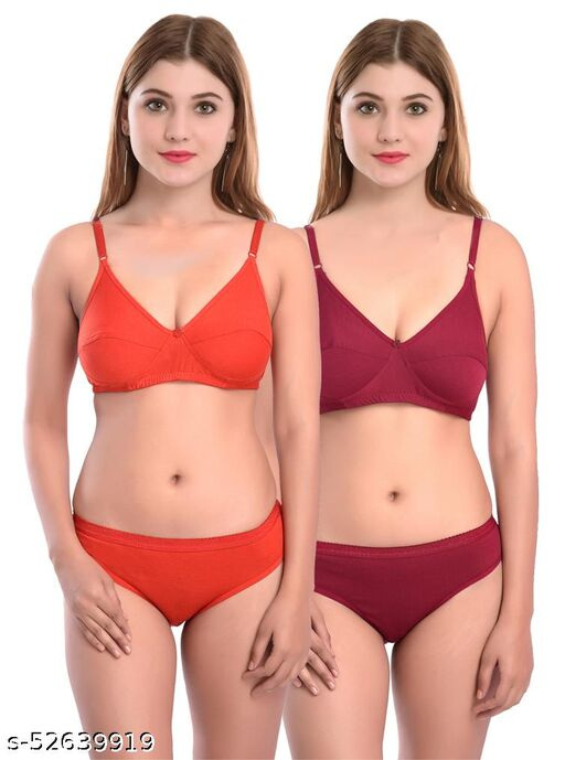 Women Cotton Bra Panty Set for Lingerie Set ( Pack of 2 ) ( Color : Red,Maroon )