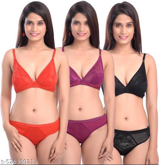 Women Cotton Bra Panty Set for Lingerie Set ( Pack of 3 ) ( Color : Red,Maroon,Black ) ( Pattern : Solid )