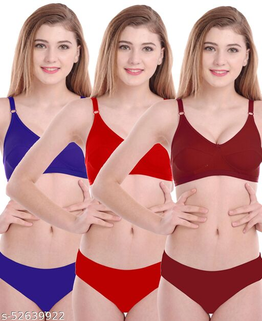 Women Cotton Bra Panty Set for Lingerie Set ( Pack of 3 ) ( Color : Blue,Red,Maroon )