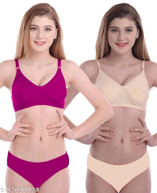 Women Cotton Bra Panty Set for Lingerie Set ( Pack of 2 ) ( Color : Pink,Gold )