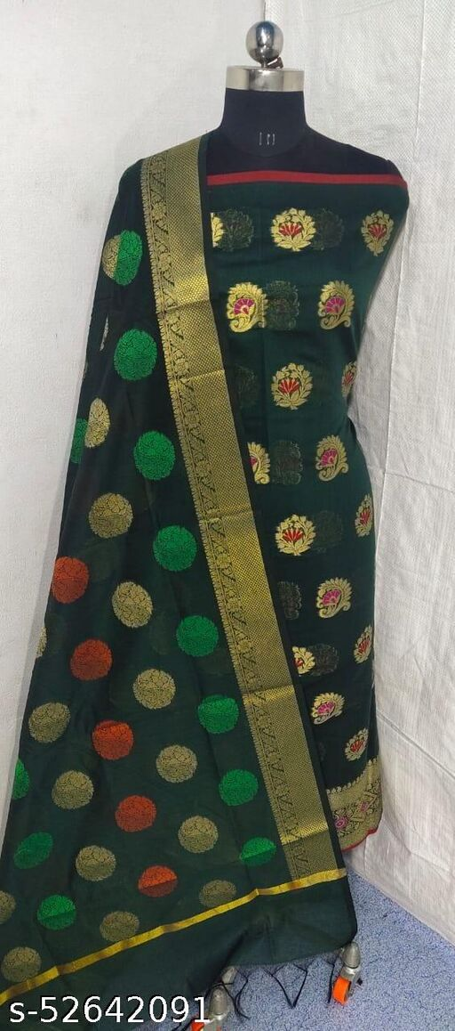 (S1Green) Weddings Special Banarsi Handloom Cotton Suit And Dress Material