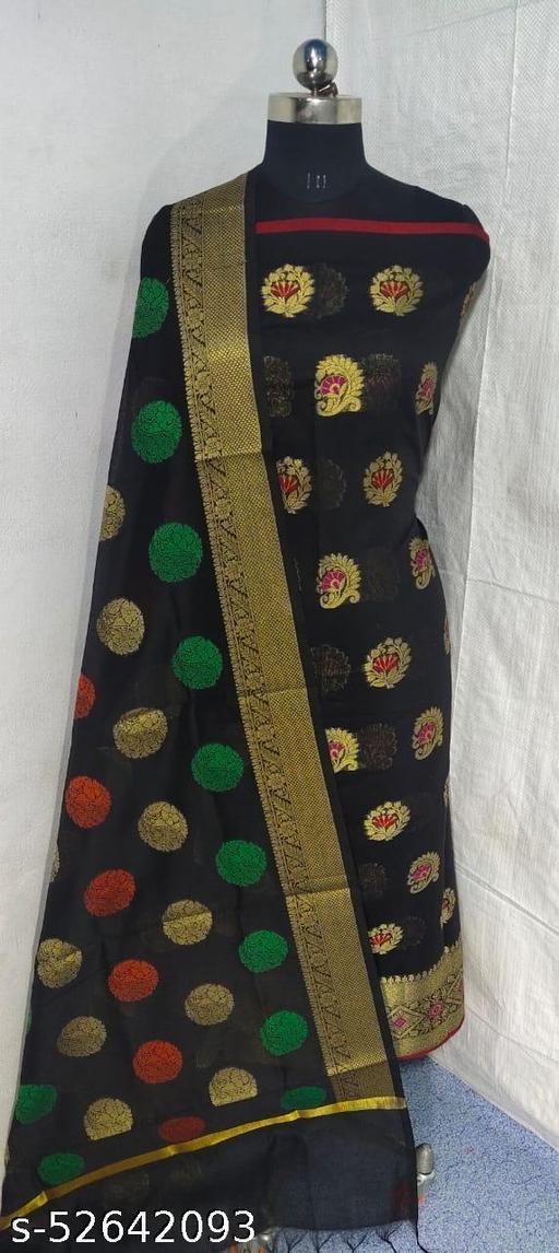(S1Black) Weddings Special Banarsi Handloom Cotton Suit And Dress Material