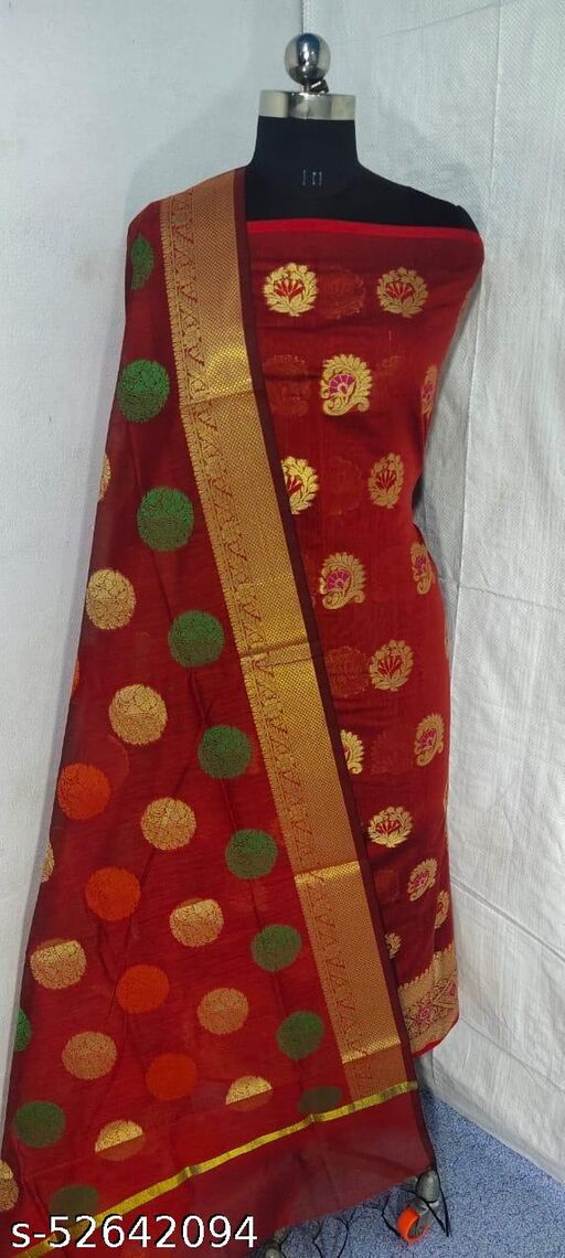 (S1Red) Weddings Special Banarsi Handloom Cotton Suit And Dress Material