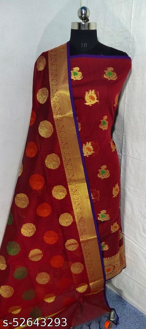 (S6Red) Weddings Special Banarsi Handloom Cotton Suit And Dress Material