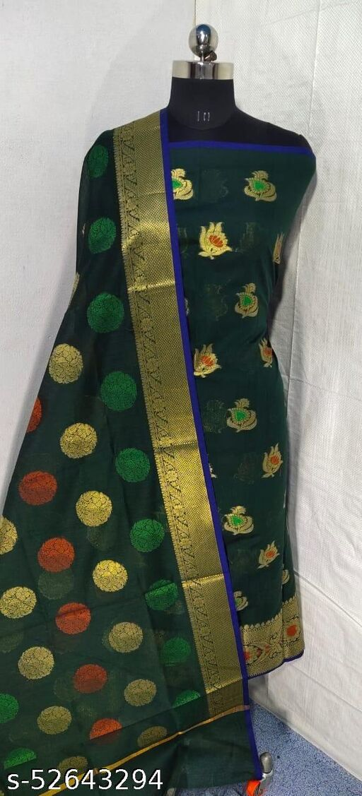 (S6Green) Weddings Special Banarsi Handloom Cotton Suit And Dress Material