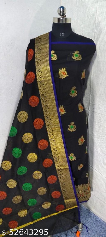 (S6Black) Weddings Special Banarsi Handloom Cotton Suit And Dress Material