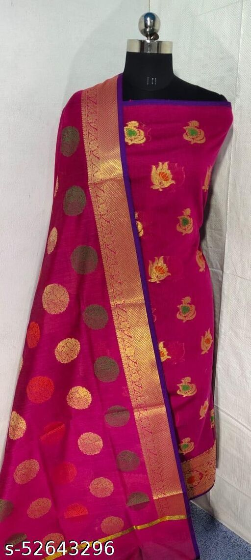 (S6Pink) Weddings Special Banarsi Handloom Cotton Suit And Dress Material