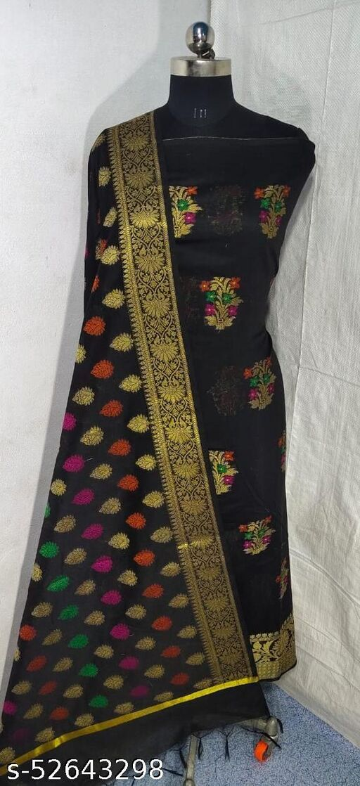 (S5Black) Weddings Special Banarsi Handloom Cotton Suit And Dress Material