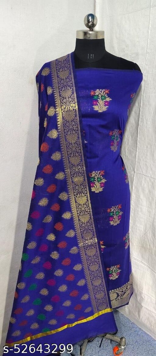 (S5Blue) Weddings Special Banarsi Handloom Cotton Suit And Dress Material