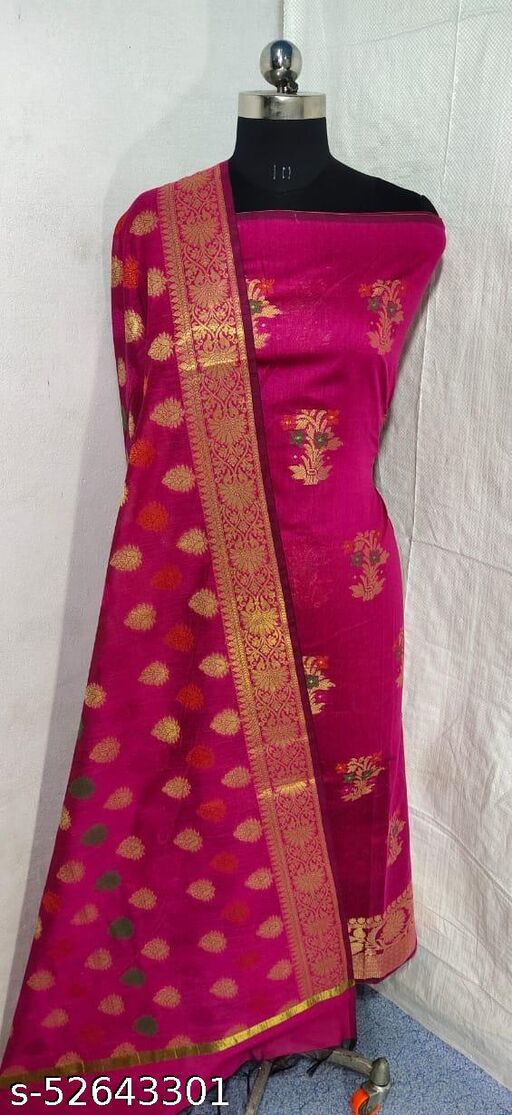 (S5Pink) Weddings Special Banarsi Handloom Cotton Suit And Dress Material