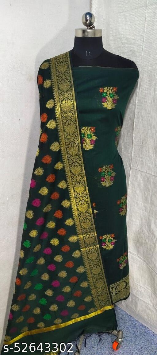 (S5Green) Weddings Special Banarsi Handloom Cotton Suit And Dress Material