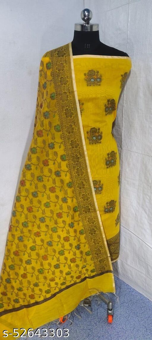 (S9Yellow) Weddings Special Banarsi Handloom Cotton Suit And Dress Material