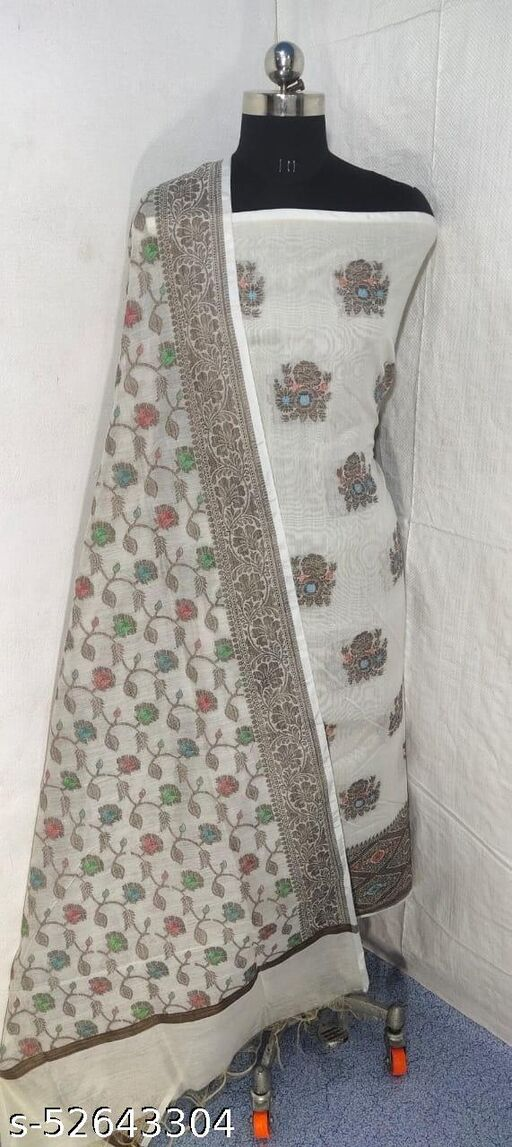 (S9White) Weddings Special Banarsi Handloom Cotton Suit And Dress Material