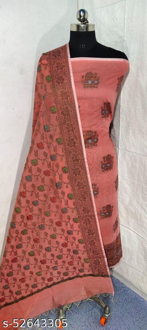 (S9Peach) Weddings Special Banarsi Handloom Cotton Suit And Dress Material