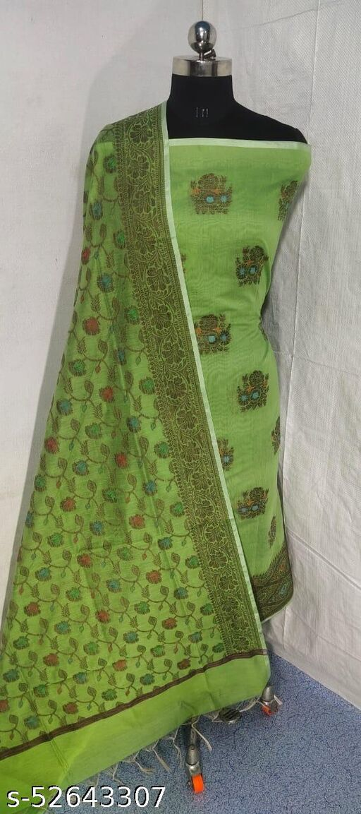 (S9Mint Green) Weddings Special Banarsi Handloom Cotton Suit And Dress Material