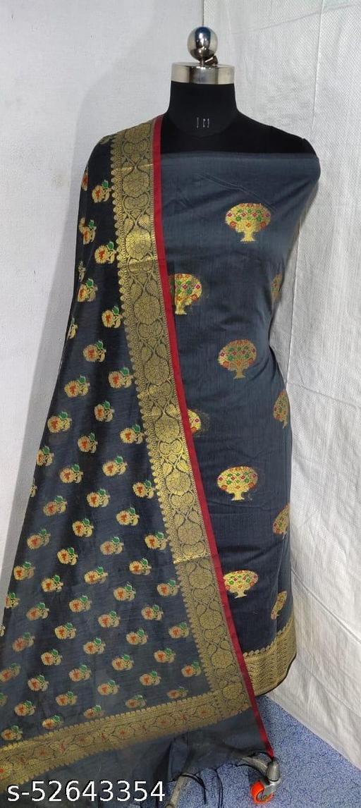 (S14Grey) Weddings Special Banarsi Handloom Cotton Suit And Dress Material