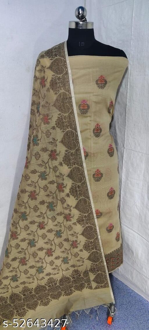 (S17Nude) Weddings Special Banarsi Handloom Cotton Suit And Dress Material