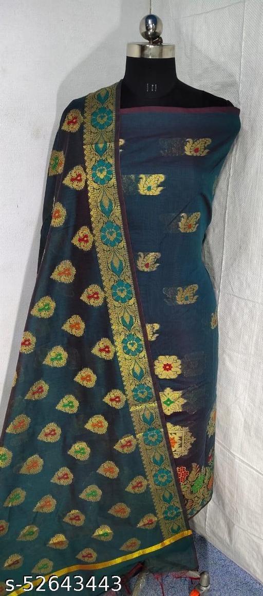 (S18Grey) Weddings Special Banarsi Handloom Cotton Suit And Dress Material