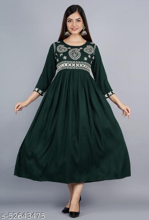 womens rayon embroidey Partywear long kurta