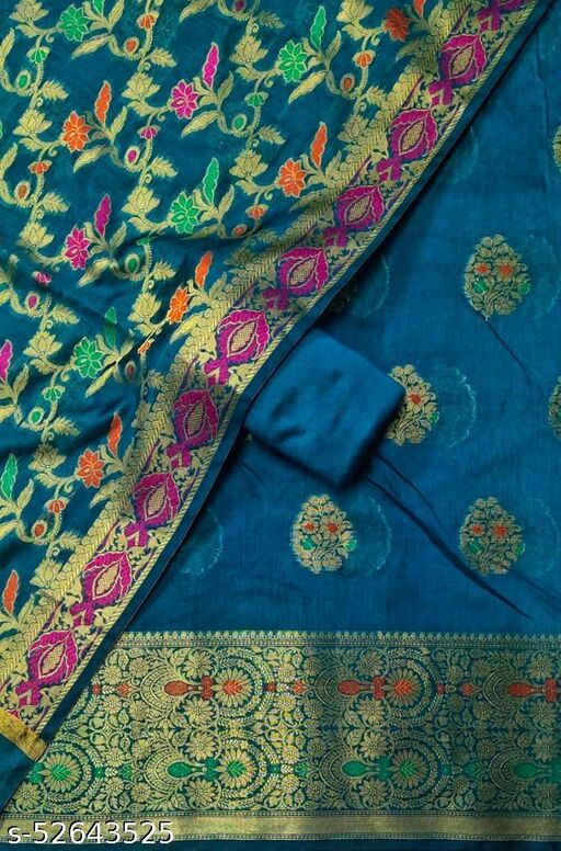 (S26Teal) Weddings Special Banarsi Handloom Cotton Suit And Dress Material