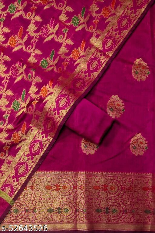 (S26Pink) Weddings Special Banarsi Handloom Cotton Suit And Dress Material