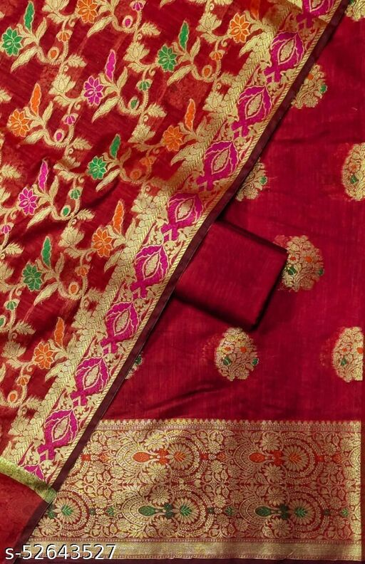 (S26Red) Weddings Special Banarsi Handloom Cotton Suit And Dress Material