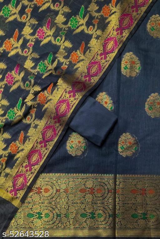 (S26Grey) Weddings Special Banarsi Handloom Cotton Suit And Dress Material