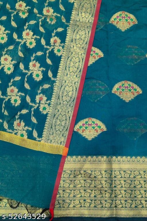 (S27Teal) Weddings Special Banarsi Handloom Cotton Suit And Dress Material