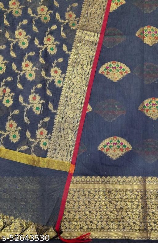(S27Grey) Weddings Special Banarsi Handloom Cotton Suit And Dress Material