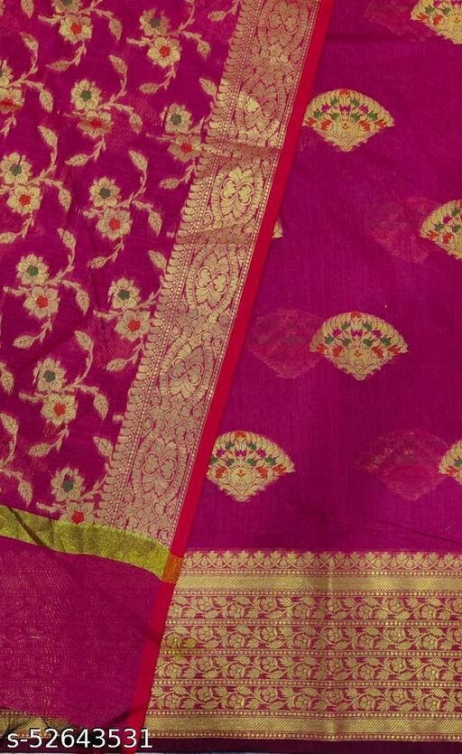 (S27Pink) Weddings Special Banarsi Handloom Cotton Suit And Dress Material