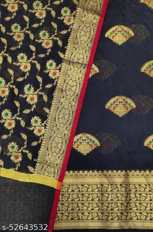 (S27Black) Weddings Special Banarsi Handloom Cotton Suit And Dress Material