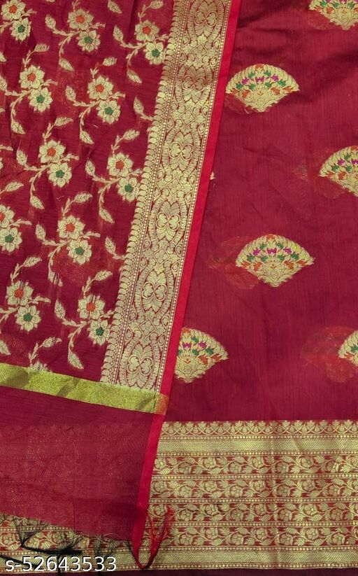 (S27Red) Weddings Special Banarsi Handloom Cotton Suit And Dress Material